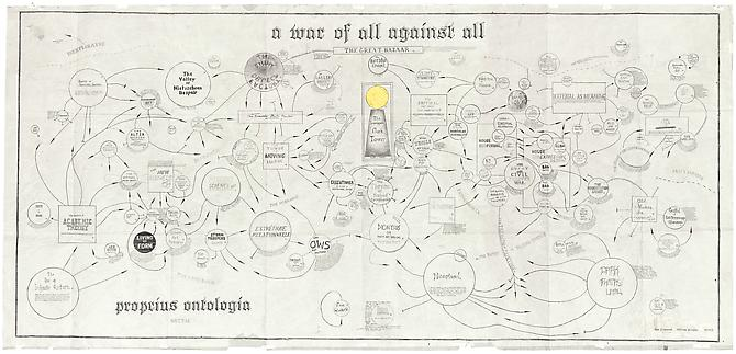 William Powhida & Jade Townsend  A War of All Against All , 2013 Digital print and gold leaf on vellum