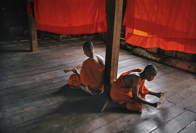 Novice Monks Studying, Monastery, Angkor Wat 1999 C-type print on Fuji Crystal Archive paper