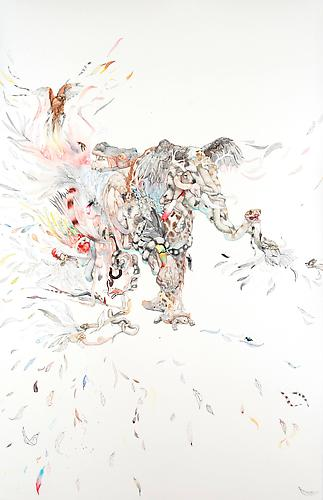 Laura Ball, Dissemination (2011) Watercolor On Paper 40h x 26w in (101.6h x 66.04w cm)