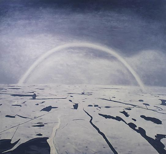 Christopher Mir White Rainbow, 2012. Acrylic on canvas, 44 x 48 inches.