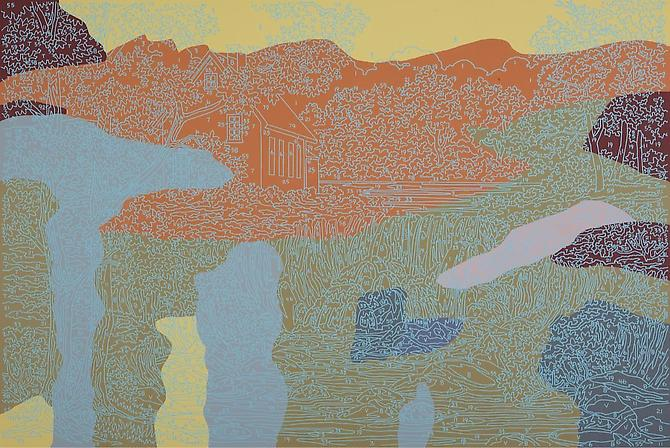 Trey Speegle Abstract Waterfall (#13), 2012. Silkscreen and acrylic on canvas, 24 x 36 inches.