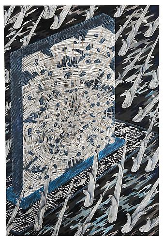 Andrew Schoultz, Reclamation, Oil, and Water (2011) Acrylic, Collage, Metal Flake,  Gouache On Paper Mounted On Board 72h x 48w in (182.88h x 121.92w cm)