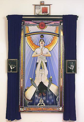 PISTIS SOPHIA, 2004-2006  Oil, acrylic, vinyl lettering, India ink, photo-collage on linen canvas, velvet drapes,  magic mirror (two way mirror with electrical components), 104 x 59 ¾ x 6 ½ in.   Price upon request  |   View More  ➤