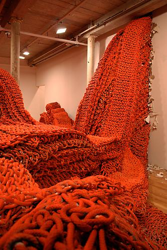 Big Boss, 2010 Rope with latex paint Dimensions variable Installation view, MASS MoCA
