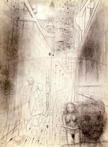 The Book (Rue St. Étienne du Mont), 1994  Graphite and pastel on paper, 30 x 22 in.   View More  ➤   Price upon request