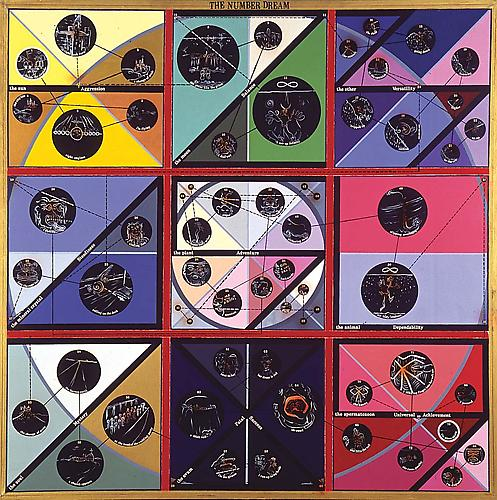 THE NUMBER DREAM, 1968 Oil, acrylic, ink, and vinyl lettering on canvas, 73 ½ x 73 ½ in.  Price upon request    View More  ➤