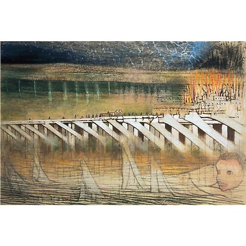 Trestle Bridge . . . The Next Village, 1990  Pastel on paper, 30 x 44 in.  Price upon request    View More  ➤