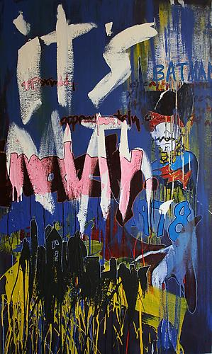 BATMAN CIRCA 1978 APPROXIMATELY No. 2 , 2010 Enamel, acrylic enamel, ink and paint marker on canvas   60 x 36 inches