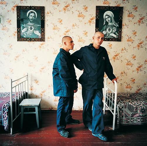 Oleg, sentenced for murder; and a friend. Juvenile prison for boys, Ukraine , 2010 C-Print 37 x 37 inches Edition of 7