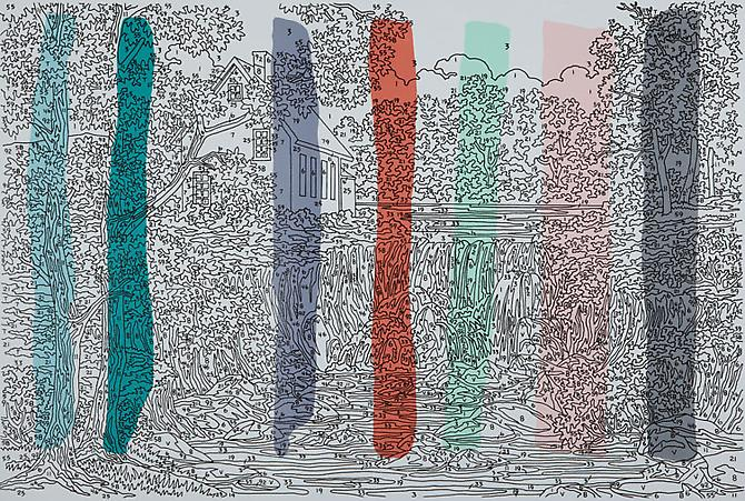 Trey Speegle Abstract Waterfall (vertical colors), 2012. Silkscreen, housepaint on canvas, 24 x 36 inches.