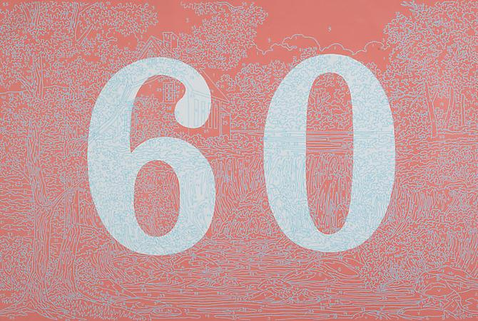 Trey Speegle Better Numbers (Sixty), 2012. Silkscreen, housepaint on canvas, 24 x 36 inches.