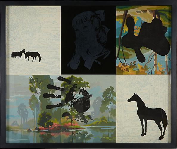 Trey Speegle It Left a Mark Where You Were (hand/horse), 2012. Tempera on vintage paint-by-number panels, 21 x 25 inches.