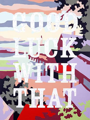 Trey Speegle Good Luck With That, 2012. Archival pigment and acrylic on canvas, 36 x 60 inches.