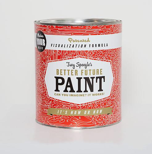 Trey Speegle Better Future Paint (Red/White), 2012. Archival pigment print on steel paint can, 7.5 x 7 x 6.5 inches. Edition of 11.