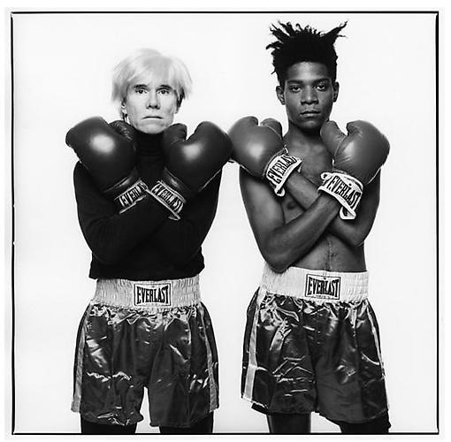 Michael Halsband Andy Warhol and Jean-Michel Basquiat, #143 New York City, July 10, 1985, 1991. Edition of 5 Gelatin Silver Print, 20 x 20 inches.