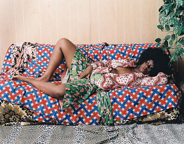 Mickalene Thomas Afro Goddess with Hands Between Legs, 2006. Mounted C-print, 48 x 60 inches.