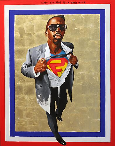 Fahamu Pecou, is the Shit! Nunna My Heros: After Barkley Hendricks' Icon for my Man Superman 1969, 2011. Acrylic, Gold Leaf, Oil Stick on Canvas, 63 x 49 inches.