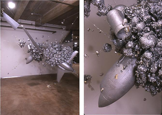 Exploding Plane, 2000  Graphite, acrylic over Neoprene, 20 x 20 ft. (dimensions variable)   View More  ➤