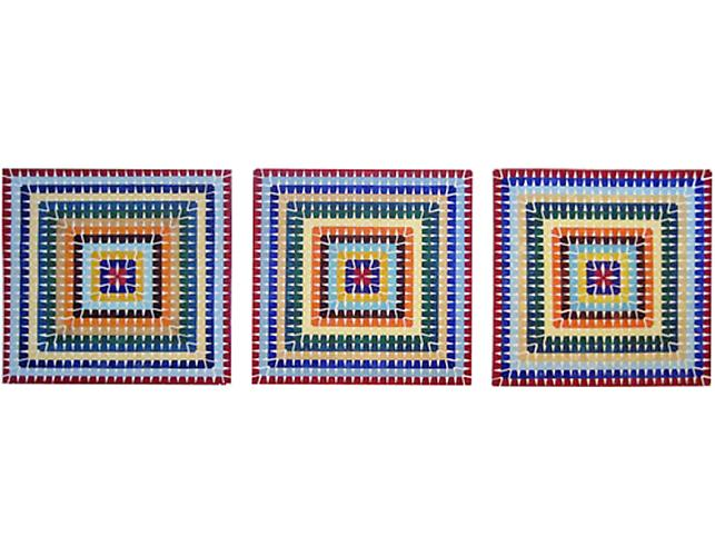 colors from Afghan blanket, copied, 2008-2009 | colors from Afghan blanket, remembered, 2008-2009 | colors from memory remembered, 2008-2009  Watercolor on paper, triptych, each image: 20 x ¼ x 20 ¼ in.   View More  ➤