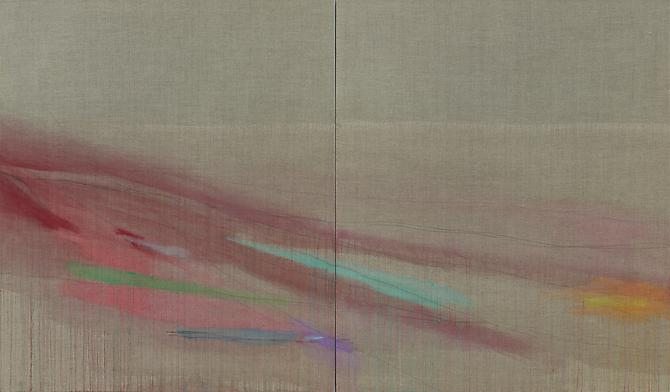 Paysage 8, 2012. Acrylic paint and pencils on raw linen canvas, 78 3/4 x 133 7/8 inches.