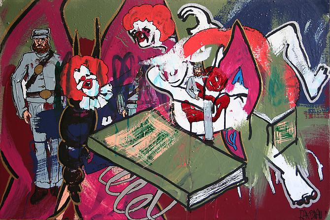THE SLEEP STORIES OF MS. MEANY , 2011 Acrylic enamel and paint marker on canvas 24 x 36 inches