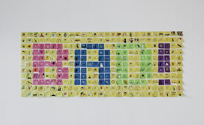 Laurina Paperina  BAD , Post-it installation, 2009-2013 Mixed media on Post-it 47 x 114 inches