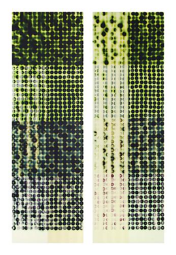Jaq Chartier,  4 Greens & 4 Whites (diptych) (2011) Acrylic, Stains, Paint On Panel  58h x 39w in (147.32h x 99.06w cm)