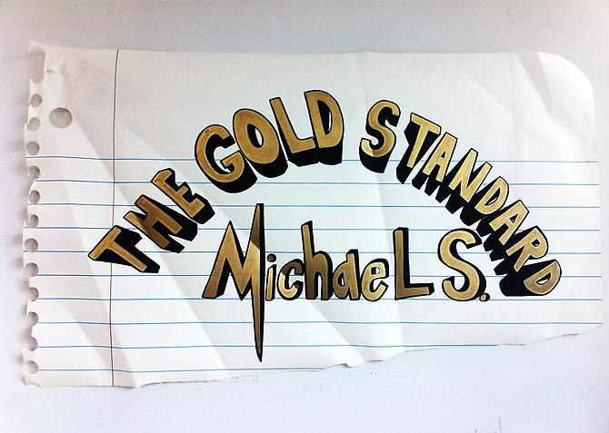 Michael Scoggins  The Gold Standard , 2013 Marker, Prismacolor on paper 33 x 51 inches