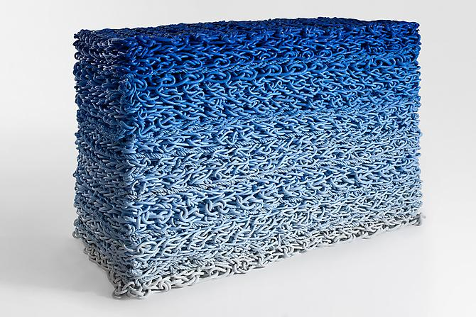 Untitled Stack (Blue Gradient), 2011 nylon rope with latex paint 46 x 71 x 36 inches