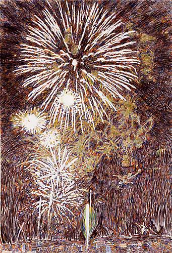 HEIDE FASNACHT  Spectacle , 2005 Colored pencil on paper, 60 x 41 in.