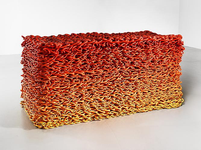Untitled Stack (Orangina Gradient), 2011 Rope, latex paint 35 x 70 x 34 inches