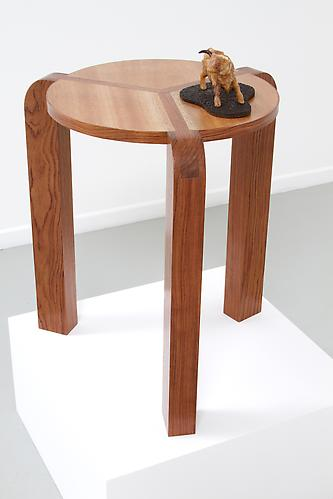 Three-Legged Y-Joint Side Table #7, 2013 Bubinga and Mahogany 14 ½ diameter x 20 in