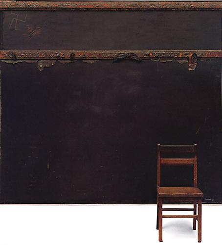 In Memory of St. Vincent School, 1960  Oil, charred wood, plasticized ashes on blackboard, with chair, blackboard: 66 x 72 ¼ in., chair: 26 ¼ x 13 x 12 ½ in. Norton Simon Museum of Art, Pasadena, CA   View More  ➤