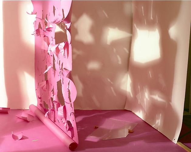 No. 141, Shadows from Torn Magenta on White, 1980-2009 C-print 32 x 39 inches Edition of 4
