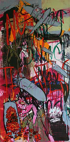 BOMB FACTORY GIRL , 2011 Enamel, acrylic latex and ink on canvas 52 x 26 inches