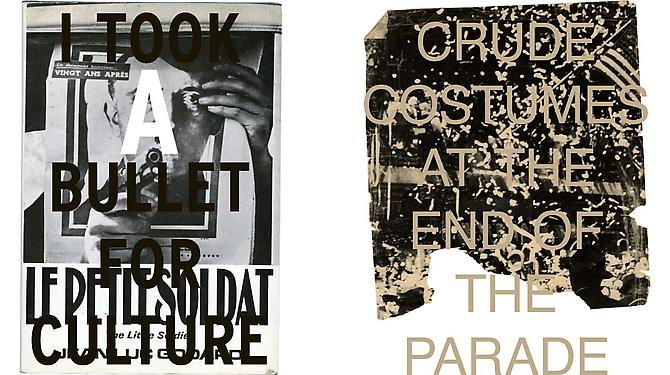 Left  I TOOK A BULLET FOR CULTURE, 2012  Archival inkjet prints on Hahnemule Fine Art photo rag paper, 18 x 15 1⁄2 in.  Price upon request   Right  END OF THE PARADE, 2012  Archival inkjet prints on Hahnemule Fine Art photo rag paper, 36 x 29 in.  Price upon request