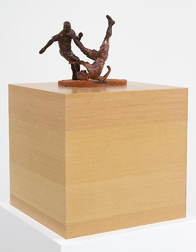 Vertical Grain Fir Pedestal with Football Players, 2013 Pedestal: Vert Grain Veneer, Players: Mixed 12 x 12 x 12 in