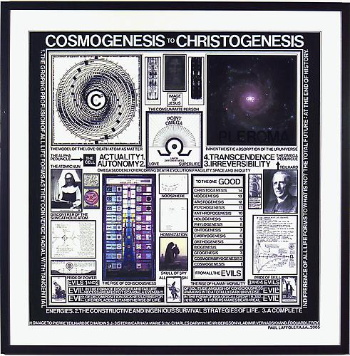 COSMOGENESIS TO CHRISTOGENESIS, 2005 Acrylic, ink, photo-collage, and vinyl lettering on acid-free board, 30 x 30 in.  Price upon request    View More  ➤