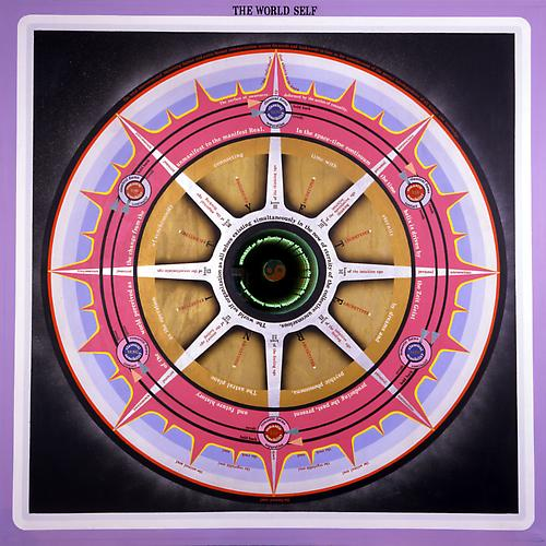 PAUL LAFFOLEY  THE WORLD SELF , 1967 Oil and acrylic on canvas and vinyl lettering with a magic mirror 61 ½ x 61 3/8 in.   View More  ➤
