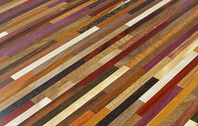 Rem Coffee Table #4 (Detail), 2013 Maple, Movingue, Mahogany, Padauk, Cocobolo, Purple Heart, Mora, Walnut, Wenge, Tamboti, Yellow Heart, Bocote, Goncalo Alves, Red Heart, Olivewood, Lignum Vitae, Indian Rosewood, Yucatan Rosewood, African Blackwood, Black Palm, Canary, Jarrah, Zapote, Teak, Bubinga Wood
