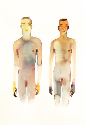 Untitled (Two Boys) (2012) Watercolor 22h x 15w in (55.88h x 38.1w cm)