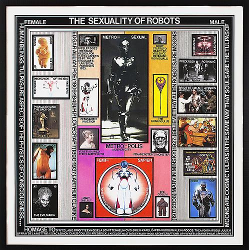 PAUL LAFFOLEY  THE SEXUALITY OF ROBOTS , 2009-2010 Ink and vinyl lettering, 30 x 30 in.   View More  ➤