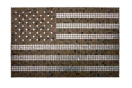 John Salvest, Change (2008) Pennies And Dimes 30h x 46w in (76.2h x 116.84w cm)