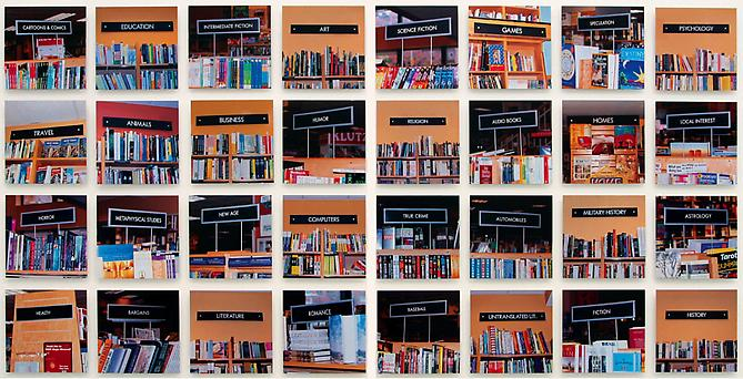 MUNTADAS On Translation: The Bookstore, 2001  Thirty-two Cibachrome prints mounted on aluminum, overall: 58 x 118 in., each: 13 x 13 in., edition of 9 Published by Galería Moisés Pérez de Albéniz, Pamplona, Spain   View More  ➤