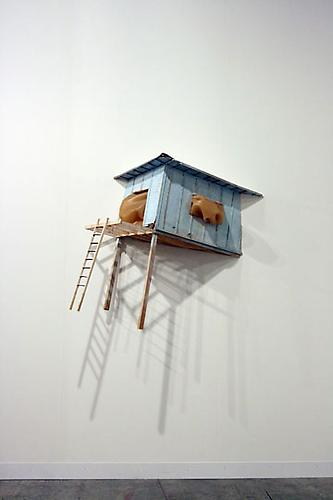 Blockhouse, 2008 Wood, cork, rubber, cardboard and latex paint 39 x 45 x 16 in.
