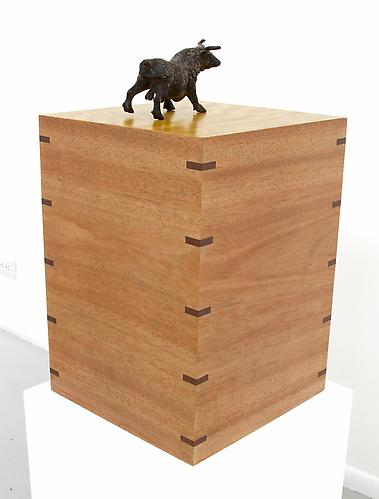 Mahogany and Movingue Pedestal with Andalucian Bull, 2013 Mahogany, Movingue Veneer, Jarrah Accents 10 x 10 x 14 in