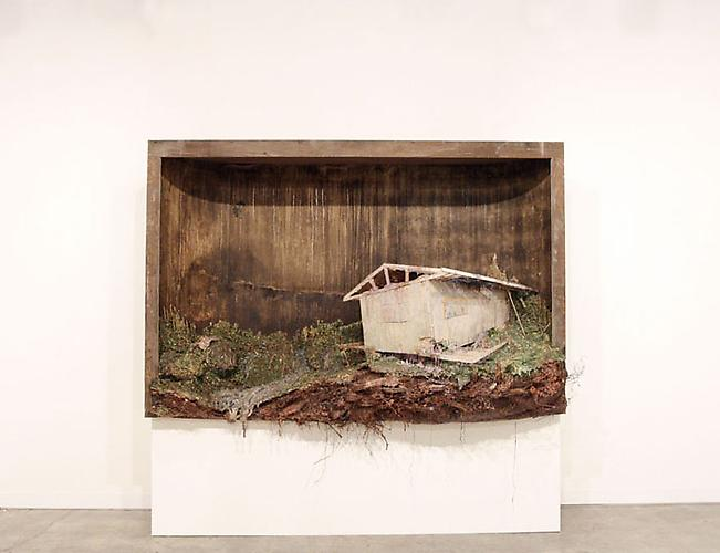 Retreat, 2009 Urethane foam, polystyrene, polyvinyl chloride, masonite, cardboard, wood, glue, roots, stain, enamel and fluorescent lights 72 x 97.5 x 44 inches