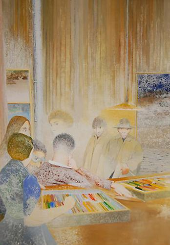 IRVING PETLIN Encounter at the Maison du Pastel, 1983  Oil on canvas, 71 x 50 in.   View More  ➤