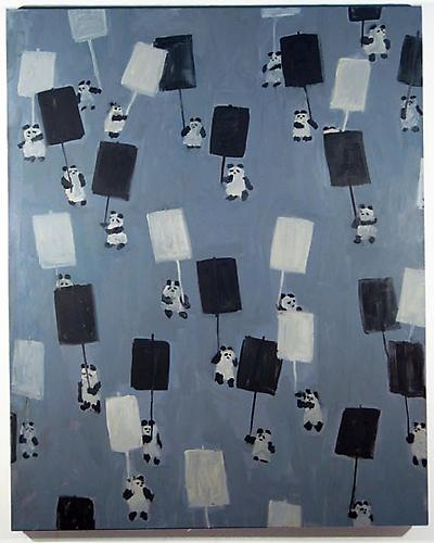 Panda Protest, 2008 Oil on linen 60 x 48 in.