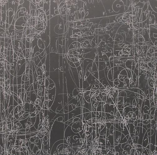 Kysa Johnson, blow up 188 - -subatomic decay patterns after Piranesi's Arch of Septimius Severus  (2013) Chalk, Chinese White, Blackboard Paint On Panel  12h x 12w in (30.48h x 30.48w cm)